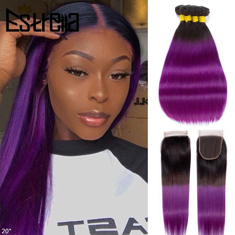 Ombre Straight Human Hair Bundles With Closure T1B Purple Brazilian Hair Weave Bundles Remy 100% Human Hair Bundles with Closure